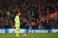 Messi, el día de la derrota ante el Liverpool.