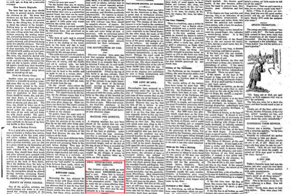14 de agosto de 1912: noticia del 'Rodney Times' alertando del efecto invernadero.