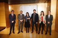 De izquierda a derecha, Salvador Illa, José Luis Ábalos, Adriana Lastra, Gabriel Rufián, Marta Vilalta y Josep Maria Jové.