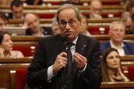 El presidente de la Generalitat, Quim Torra, el miércoles, en un pleno de control en el Parlament.