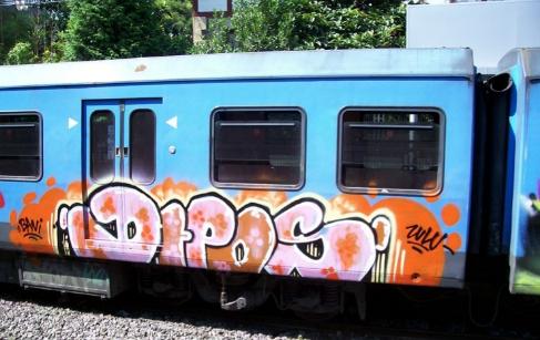 Uno de los vagones de tren con la firma del autor del grafiti, estudiado por Grafística de la Guardia Civil.