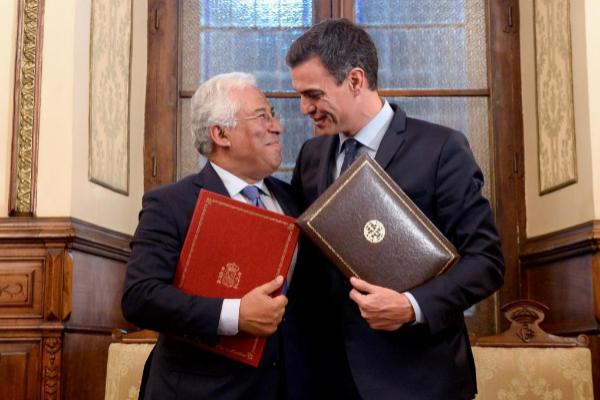 El primer ministro portugués, António Costa, y el presidente del...