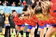 Las jugadoras de España, en los instantes previos a un partido.