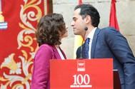 Ayuso y Aguado, en el acto de celebración de sus 100 días de Gobierno.