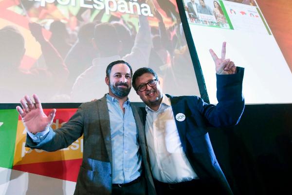 El presidente de Vox, Santiago Abascal, y el que fue su candidato a la...