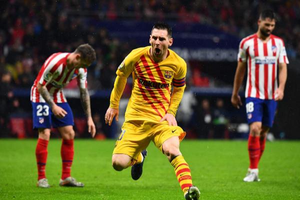 Leo Messi celebra el gol de la victoria del Barça en el Wanda.