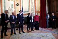 Batet (izq) con los miembros de la Mesa del Congreso en la jornada de puertas abiertas de la Cámara el pasado viernes.
