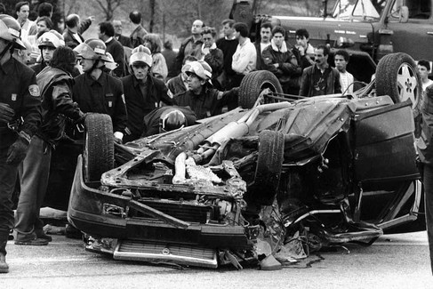 Imagen del coche tras el accidente.
