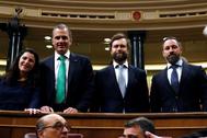Los diputados de Vox Macarena Olona, Javier Ortega Smith, Iván Espinosa de los Monteros y Santiago Abascal.