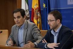 El portavoz parlamentario del PP, José Antonio Nieto, junto al diputado Eirk Domínguez.