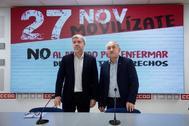 Los líderes sindicales Unai Sordo y Pepe Álvarez, juntos en un acto reciente.
