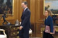 El Rey Felipe VI y Meritxell Batet, este miércoles en La Zarzuela.