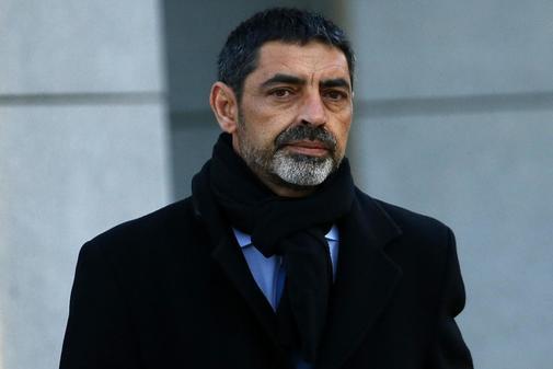 Josep Lluís Trapero, antes de entrar en la Audiencia Nacional el...
