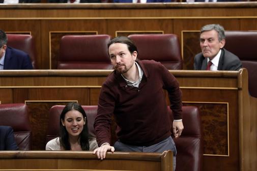 Irene Montero y Pablo Iglesias, el martes, en la sesión constitutiva...