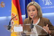 La diputada de Coalición Canaria, Ana Oramas, durante una rueda de prensa celebrada en el Congreso.