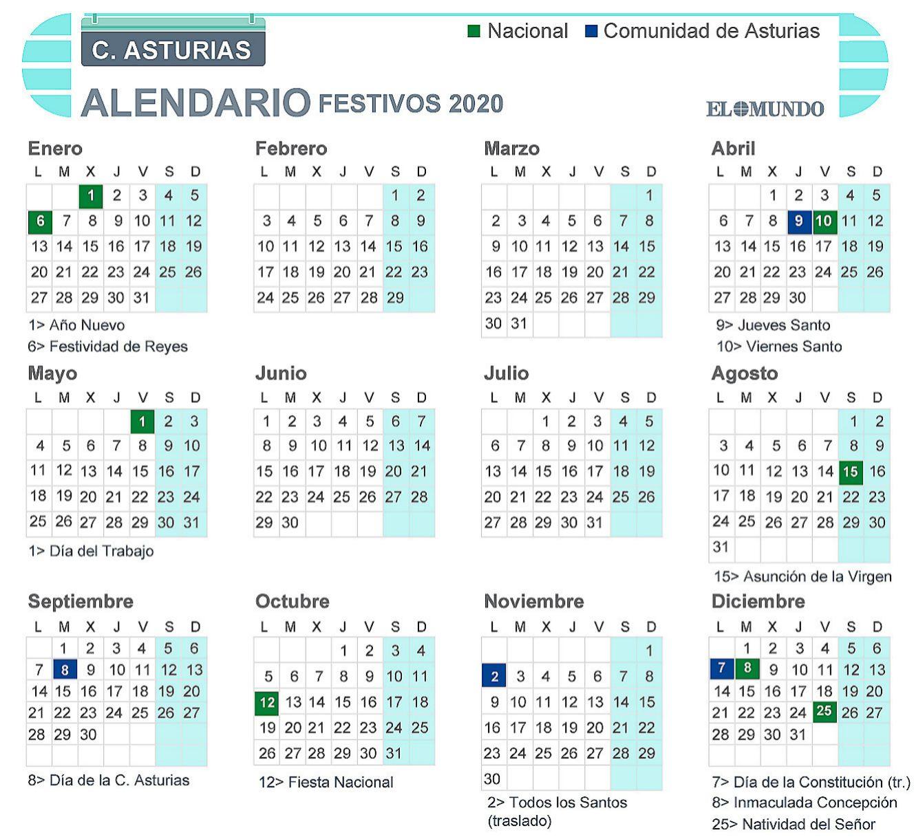 Calendario laboral de Asturias 2020