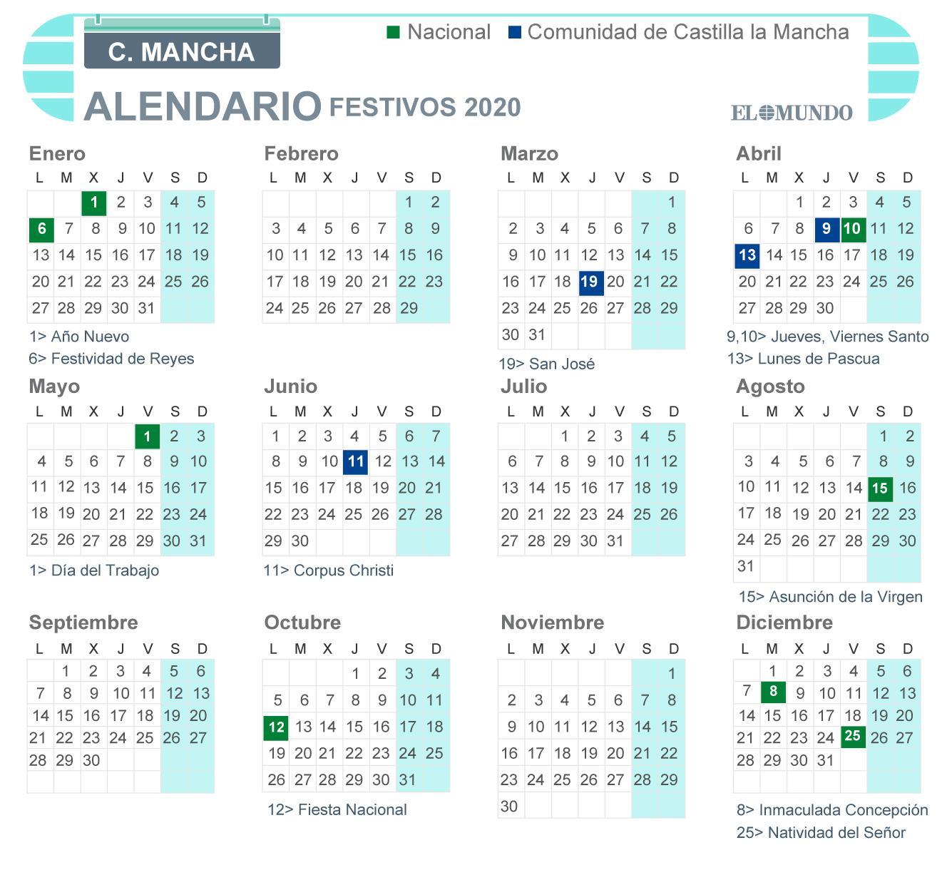 Calendario laboral de Castilla-La Mancha 2020