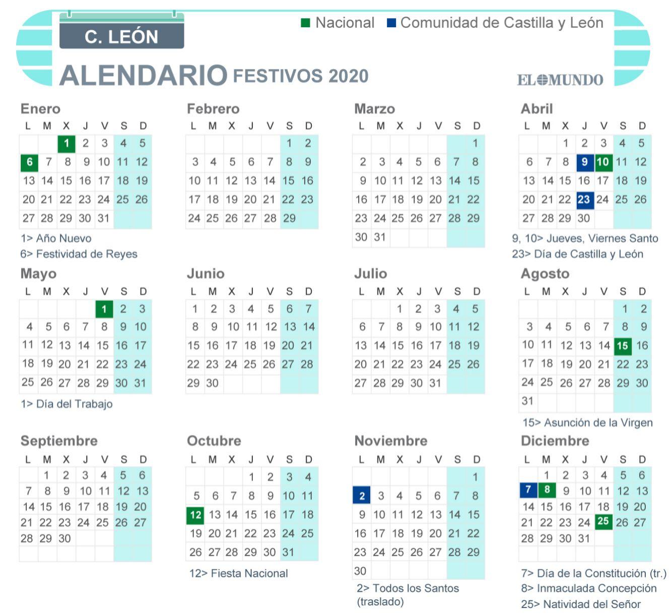 Calendario de Castilla y León 2020