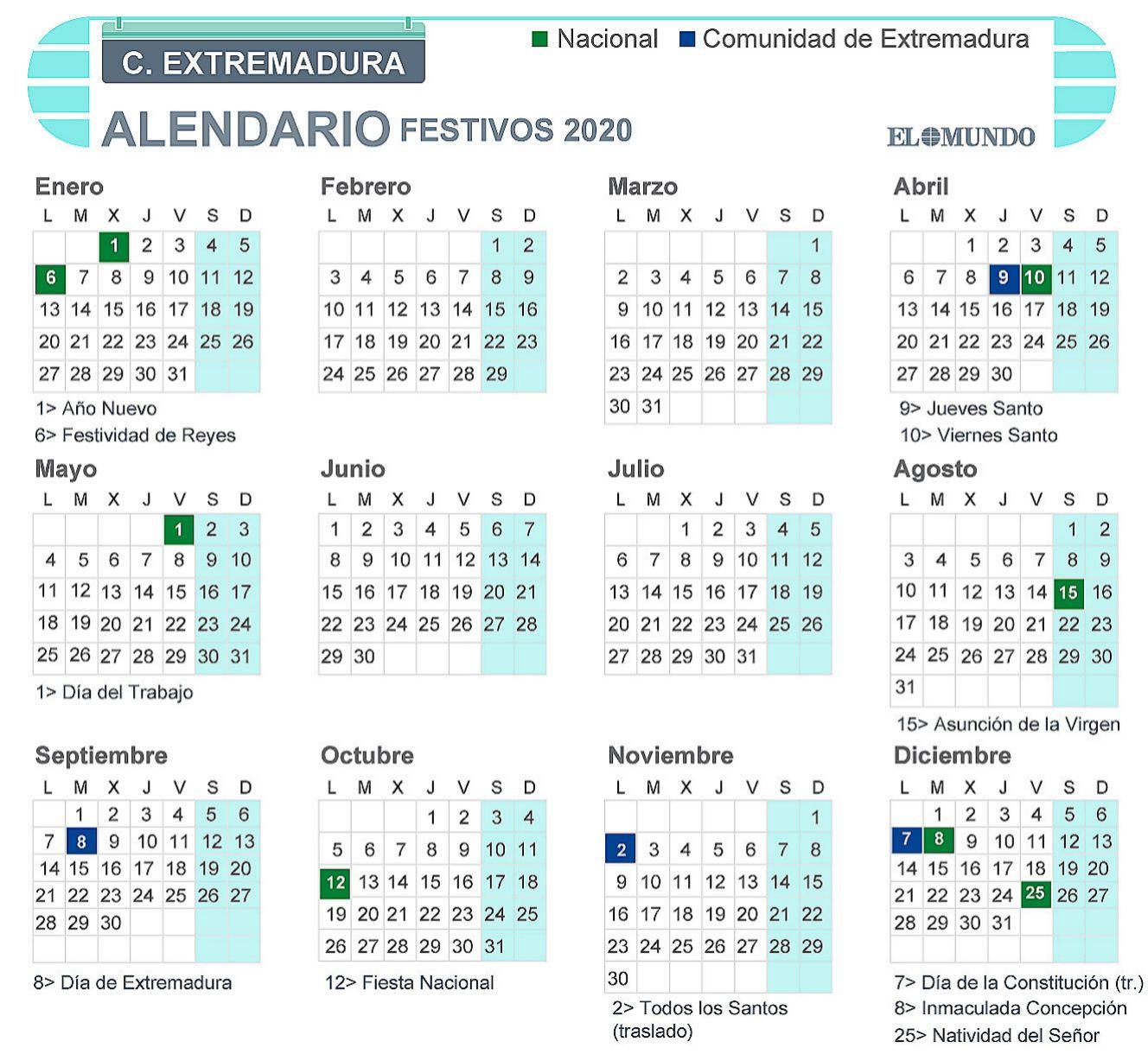 Calendario laboral de Extremadura 2020