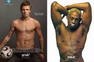 Los deportistas David Beckham y Dennis Rodman, en la campaña 'Got milk?'.