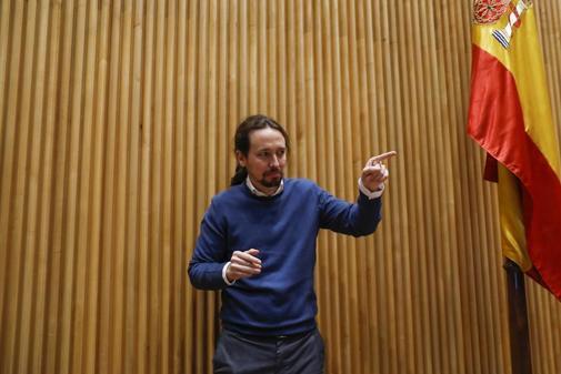 Pablo Iglesias, líder de Unidas Podemos, en un acto este jueves en el...