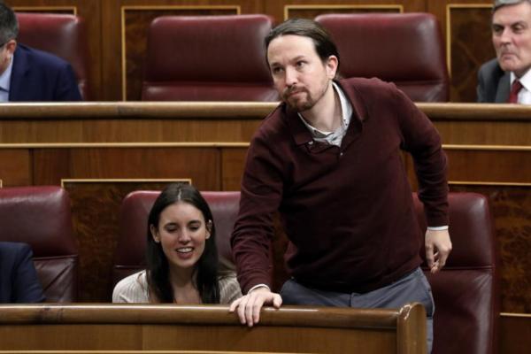 Irene Montero y Pablo Iglesias, en la sesión constitutiva de la XIV...