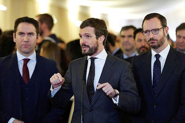 Teodoro García Egea, Pablo Casado y Javier Maroto, ayer en el...
