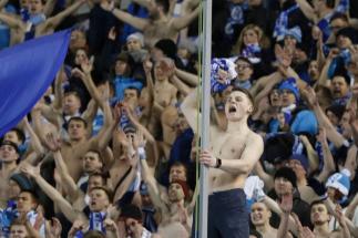 Los hinchas del Zenit, durante un partido.