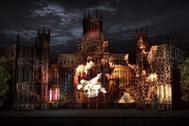 Proyección de una escena navideña en la fachada de Cibeles