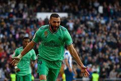 Benzema celebra su gol al Espanyol, el pasado sábado.