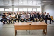 Los 41 acusados del presunto amaño de Levante-Zaragoza 10/11, en el banquillo de la Ciudad de la Justicia de Valencia.