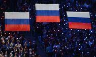 La bandera rusa en un podio de los Juegos Olímpicos de Sochi, en 2014.