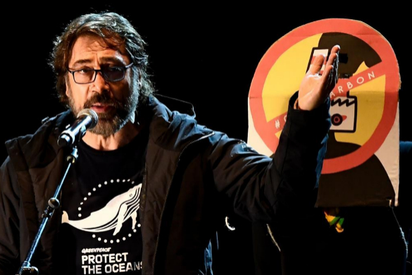 Javier Bardem. durante su discurso en la manifestación contra el...