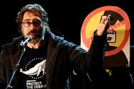 Javier Bardem. durante su discurso en la manifestación contra el cambio climático