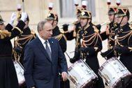 Vladimir Putin, este lunes, en el Palacio del Elíseo.