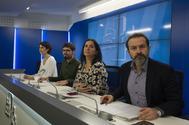 El equipo negociador de Podemos y Equo en la presentación del acuerdo.