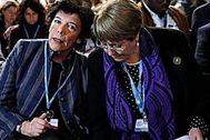 La ministra de Educación, Isabel Celaá, y Michelle Bachelet, alta comisionada de la ONU para los Derechos Humanos, en el acto de UNICEF