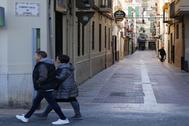 La calle Gumbau de Castellón, junto a la calle Mayor, frente a la ZAS de Tascas.