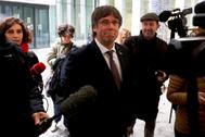 El ex presidente de Cataluña Carles Puigdemont, en una reciente aparición, en Bruselas.