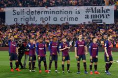 Pancarta indepedentista exhibida en el Camp Nou, en el último clásico.