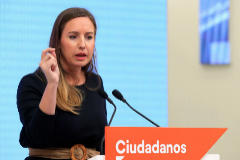 La portavoz de la Gestora de Ciudadanos, Melisa Rodríguez, da este martes su primera rueda de prensa como portavoz de la dirección provisional.