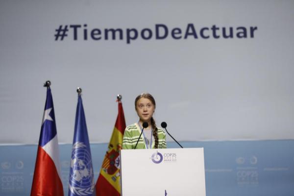La activista sueca Greta Thunberg durante su discurso en la Cumbre del Clima de Madrid.