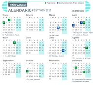 Calendario laboral de País Vasco 2020