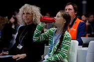 La joven activista sueca Greta Thunberg, en el plenario de la cumbre del clima la COP25 en IFEMA