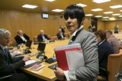 Maddalen Iriarte antes del inicio de la ponencia de Autogobierno celebrada hoy en el Parlamento Vasco.