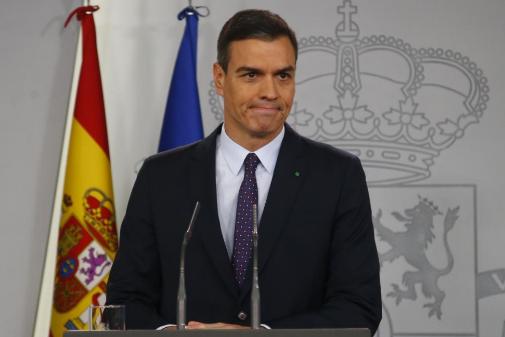 El presidente del Gobierno en funciones, Pedro Sánchez, este...