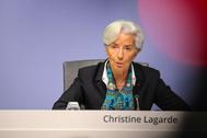 Christine Lagarde, presidenta del BCE, tras la reunión de este jueves.