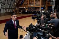 Pedro Sánchez, a su llegada a la reunión del Consejo Europeo, en Bruselas.