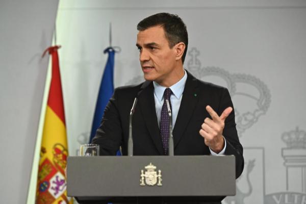 El presidente del Gobierno en funciones, Pedro Sánchez, en la rueda...