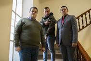 Franco Casella, Armando, el hermano de Óscar, y el ex diputado Wilmer Azuaje, en Madrid.